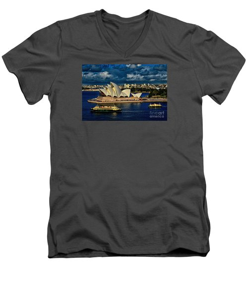 Sydney Opera House Australia Men's V-Neck T-Shirt by Diana Mary Sharpton