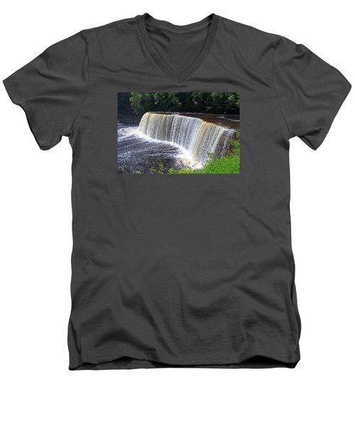 Tahquamenon Upper Falls IIi Men's V-Neck T-Shirt by Michiale Schneider