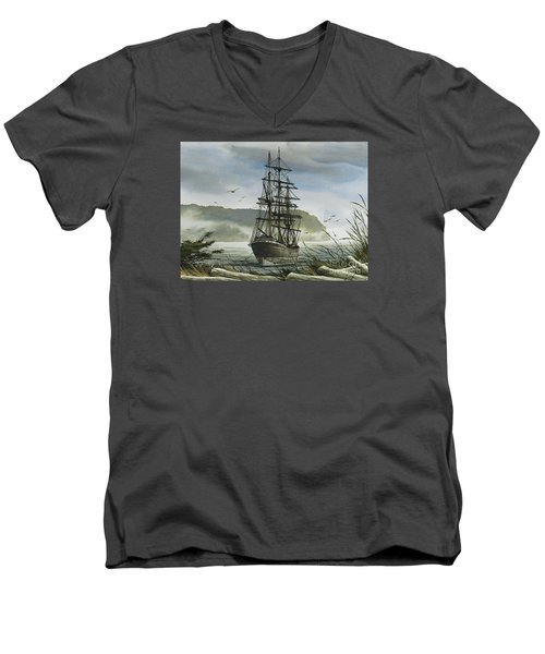 Men's V-Neck T-Shirt featuring the painting Tall Ship Cove by James Williamson
