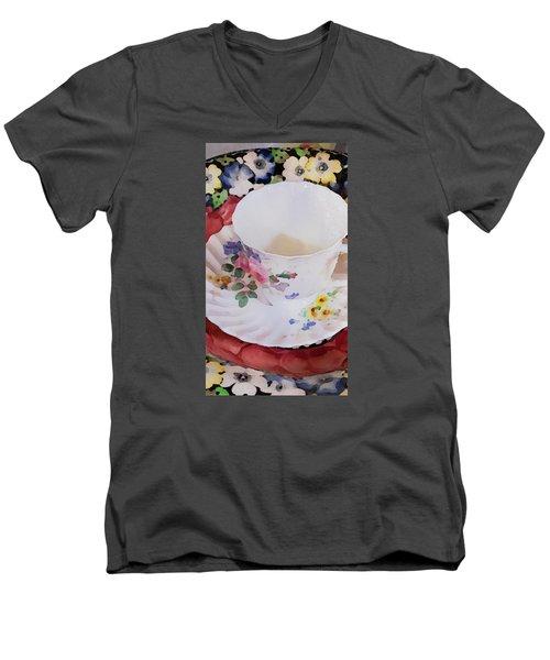 Tea Time Men's V-Neck T-Shirt by Bonnie Bruno