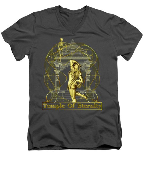 Men's V-Neck T-Shirt featuring the digital art Temple Of Eternity by Robert G Kernodle