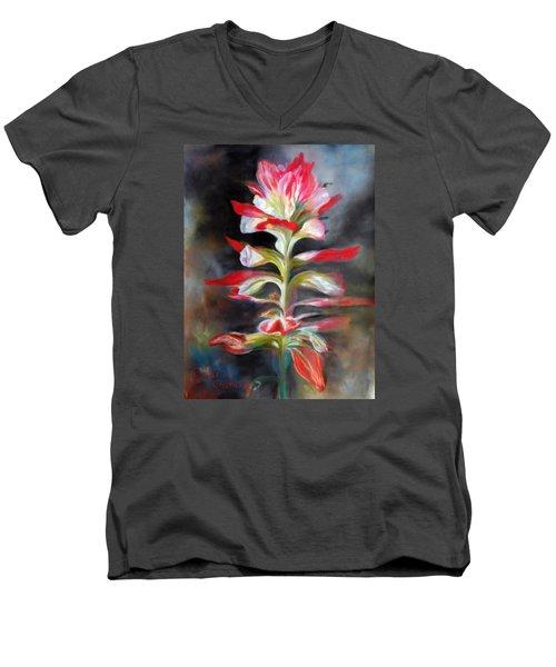 Texas Indian Paintbrush Men's V-Neck T-Shirt by Karen Kennedy Chatham