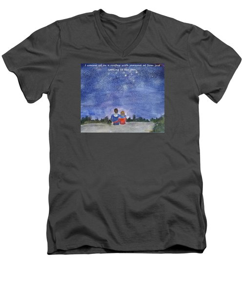 Men's V-Neck T-Shirt featuring the painting Thank You Love by Geeta Biswas