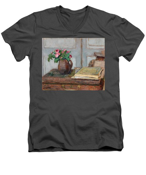 The Artist's Paint Box And Moss Roses Men's V-Neck T-Shirt