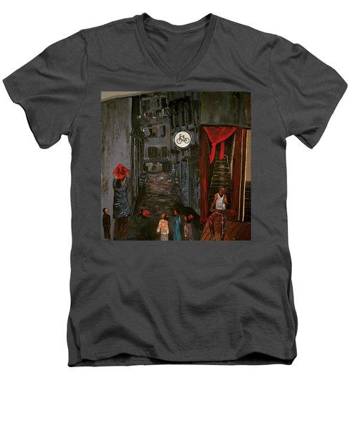 The Backlane Men's V-Neck T-Shirt by Belinda Low
