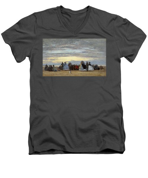 The Beach At Villerville Men's V-Neck T-Shirt