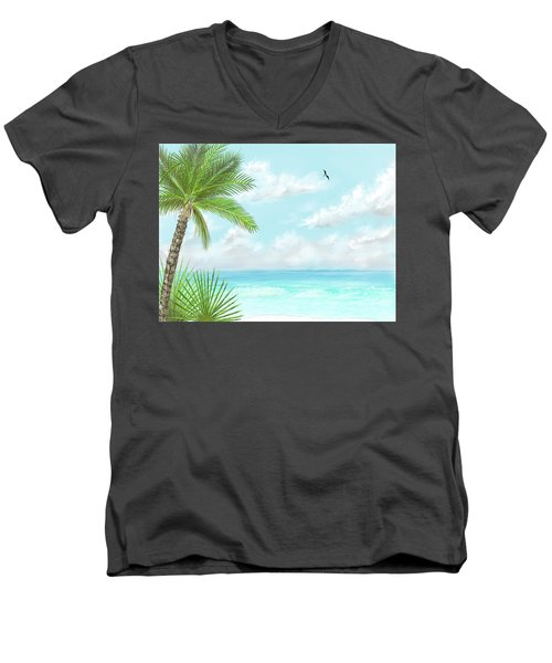 Men's V-Neck T-Shirt featuring the digital art The Beach by Darren Cannell