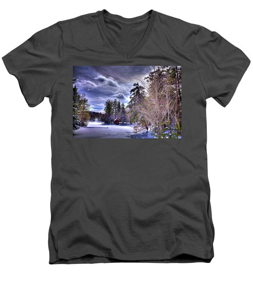 Men's V-Neck T-Shirt featuring the photograph The Beaver Brook Boathouse by David Patterson