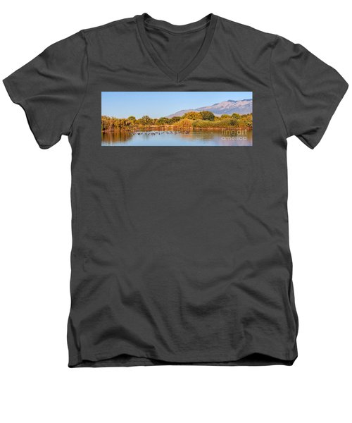 Men's V-Neck T-Shirt featuring the photograph The Bosque by Gina Savage