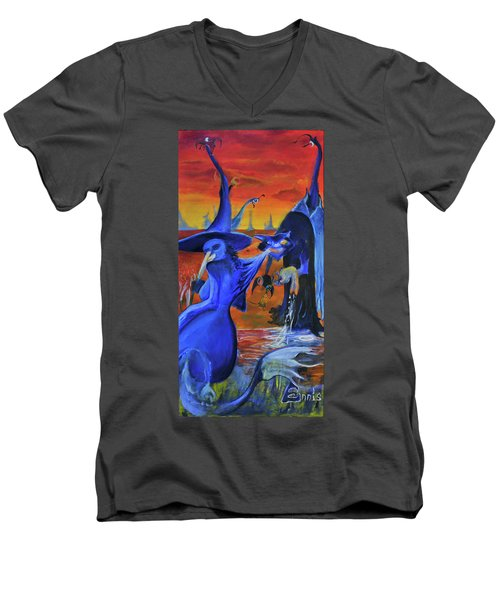 The Cat And The Witch Men's V-Neck T-Shirt by Christophe Ennis