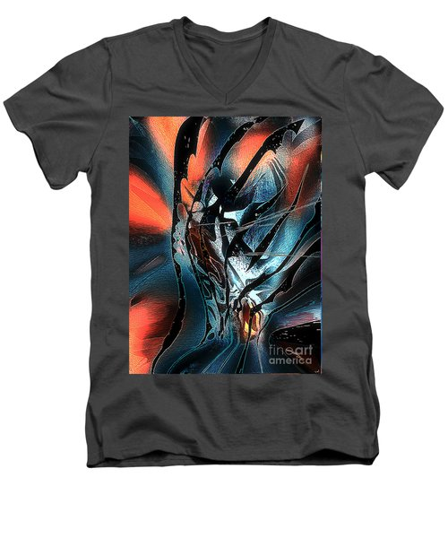 Men's V-Neck T-Shirt featuring the digital art The Oracle by Yul Olaivar