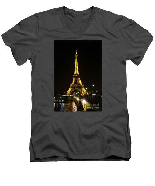The Eiffel Tower At Night Illuminated, Paris, France. Men's V-Neck T-Shirt by Perry Van Munster