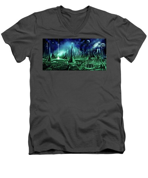 Men's V-Neck T-Shirt featuring the painting The Enneanoveum by James Christopher Hill