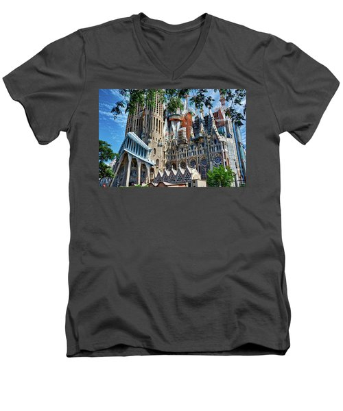 The Expiatory Temple Of The Holy Family Men's V-Neck T-Shirt