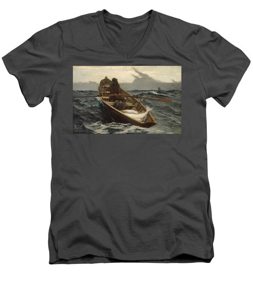 Men's V-Neck T-Shirt featuring the painting The Fog Warning - 1885 by Winslow Homer