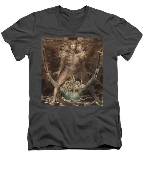 The Great Red Dragon And The Beast From The Sea Men's V-Neck T-Shirt