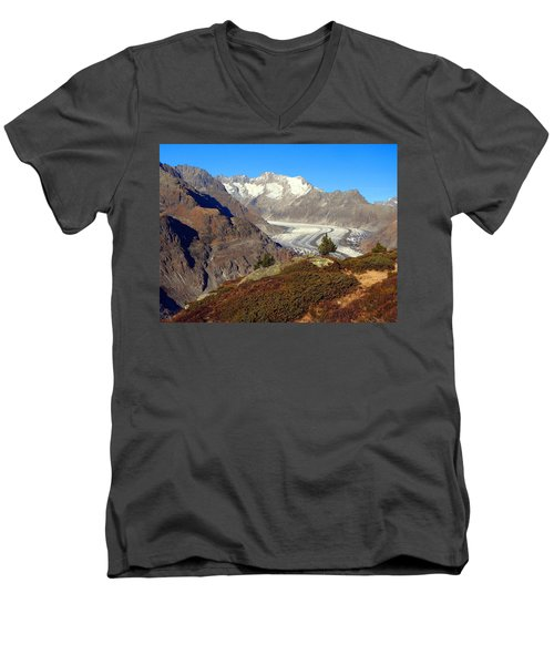 The Large Aletsch Glacier In Switzerland Men's V-Neck T-Shirt by Ernst Dittmar