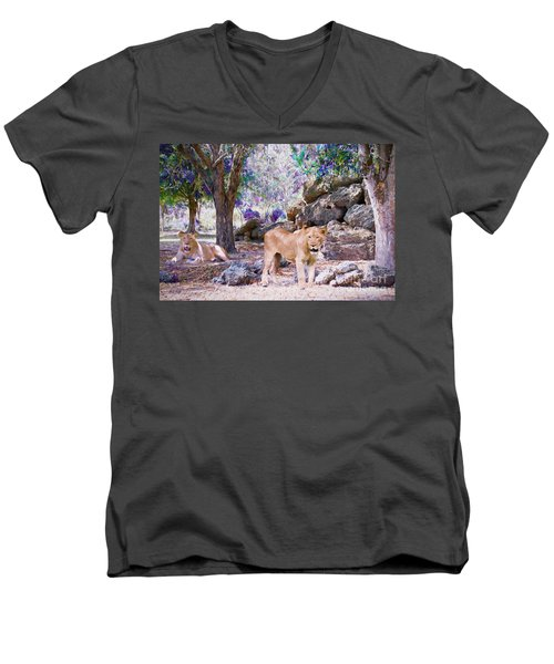 Men's V-Neck T-Shirt featuring the painting The Lions by Judy Kay
