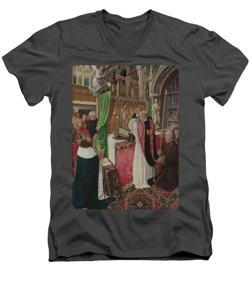 The Mass Of Saint Giles Men's V-Neck T-Shirt by Master of Saint Giles