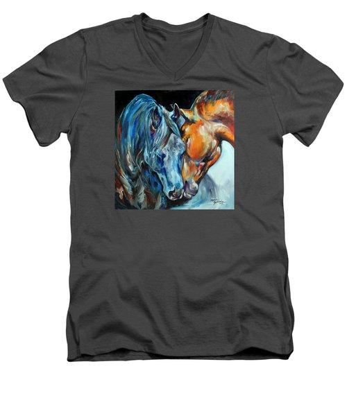 The Meeting  Men's V-Neck T-Shirt by Marcia Baldwin