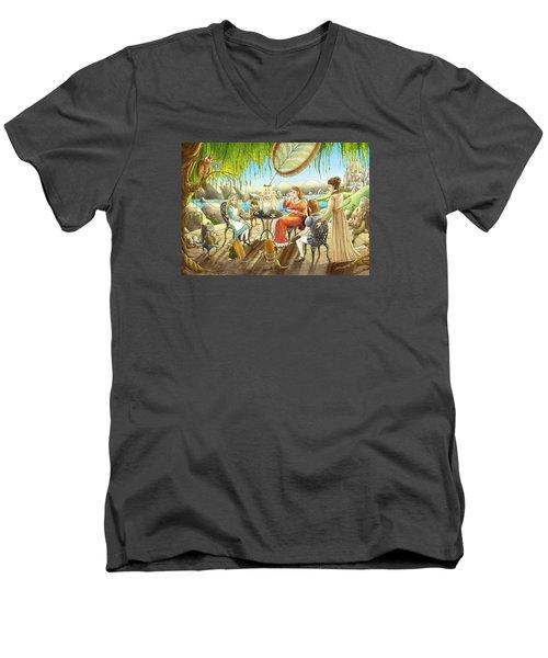 The Palace Garden Tea Party Men's V-Neck T-Shirt by Reynold Jay