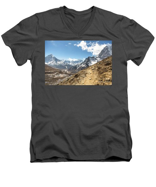 The Path To Cho La Pass In Nepal Men's V-Neck T-Shirt