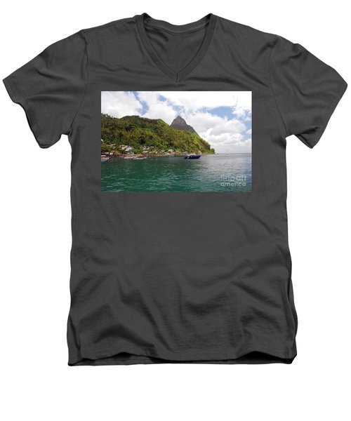 Men's V-Neck T-Shirt featuring the photograph The Pilons by Gary Wonning