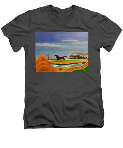 The Race Men's V-Neck T-Shirt by Margaret Harmon