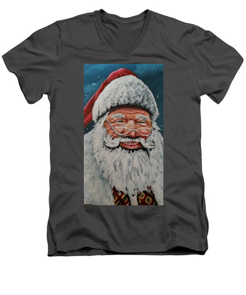 Men's V-Neck T-Shirt featuring the painting The Real Santa by James Guentner