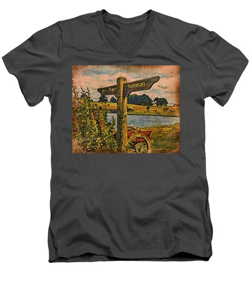 Men's V-Neck T-Shirt featuring the digital art The Road To Hobbiton by Kathy Kelly