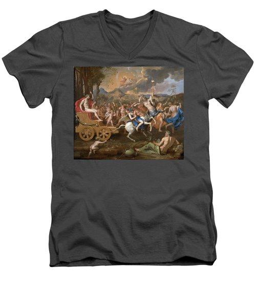 The Triumph Of Bacchus Men's V-Neck T-Shirt by Nicolas Poussin