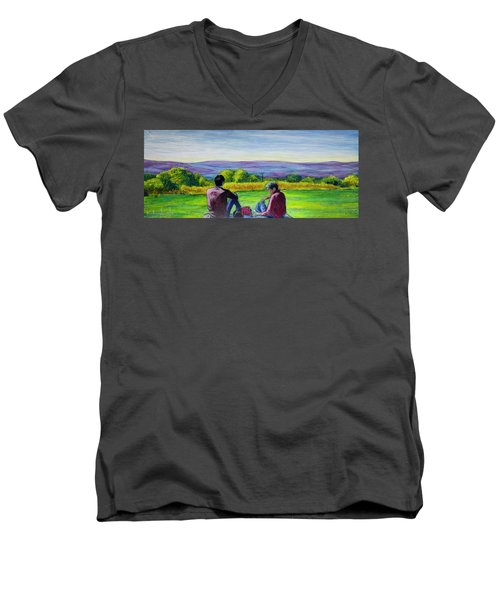 The View Men's V-Neck T-Shirt by Ron Richard Baviello