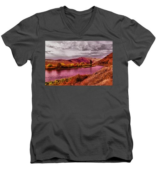 Men's V-Neck T-Shirt featuring the photograph The Yakima River by Jeff Swan