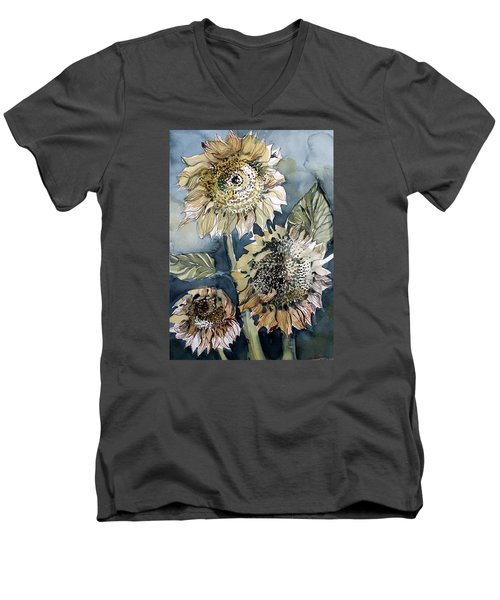Three Sunflowers Men's V-Neck T-Shirt by Mindy Newman
