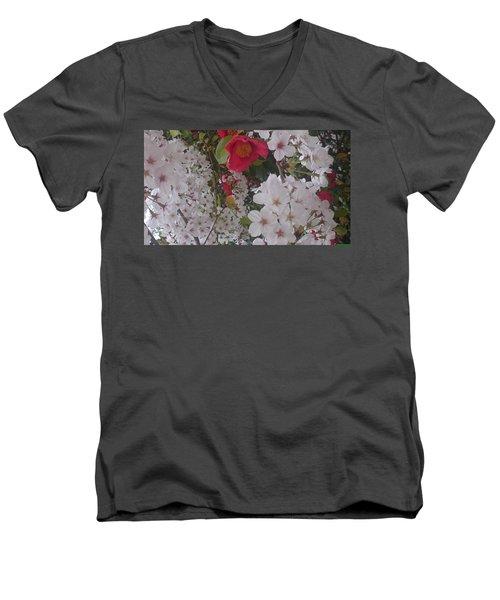 Thubaki Means Camellia Men's V-Neck T-Shirt