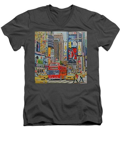 Times Square Men's V-Neck T-Shirt
