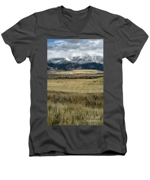 Tobacco Root Mountains Men's V-Neck T-Shirt by Cindy Murphy - NightVisions
