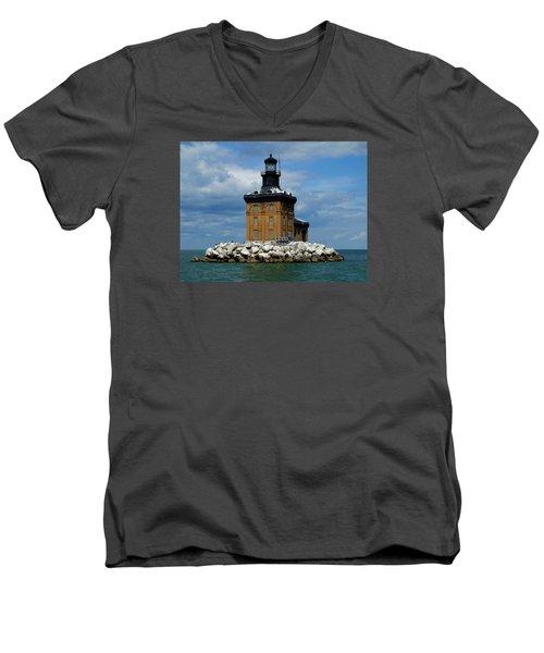 Toledo Harbor Lighthouse Men's V-Neck T-Shirt by Michiale Schneider