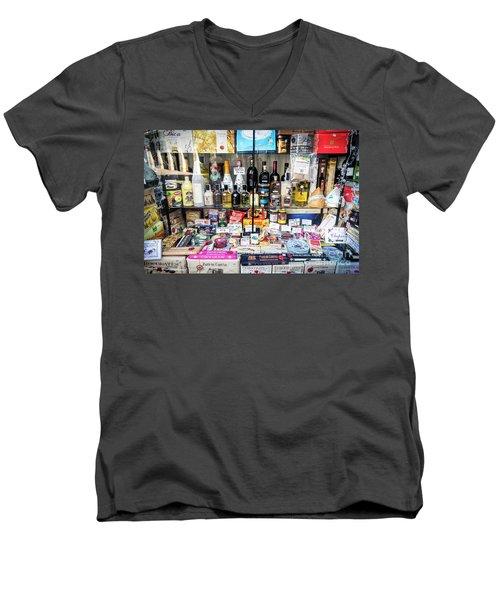 Traditional Spanish Deli Food Shop Display In Santiago De Compos Men's V-Neck T-Shirt