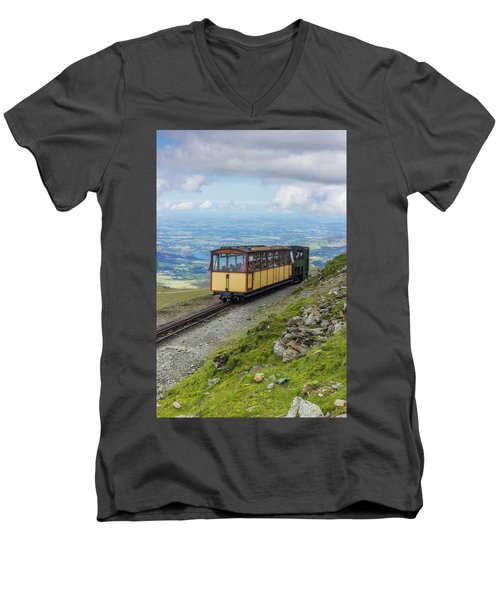 Train To Snowdon Men's V-Neck T-Shirt by Ian Mitchell