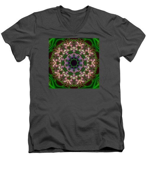 Men's V-Neck T-Shirt featuring the digital art Transition Flower 10 Beats by Robert Thalmeier