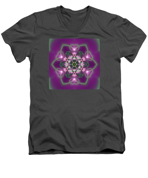 Men's V-Neck T-Shirt featuring the digital art Transition Flower 6 Beats 3 by Robert Thalmeier