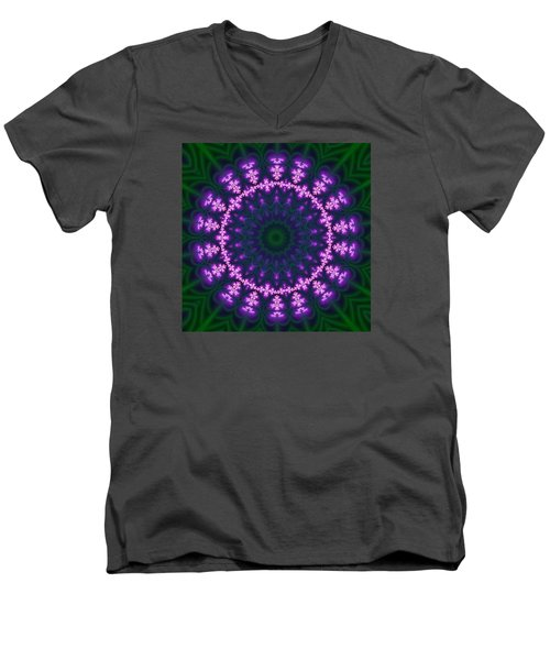 Men's V-Neck T-Shirt featuring the digital art Transition Flower  by Robert Thalmeier