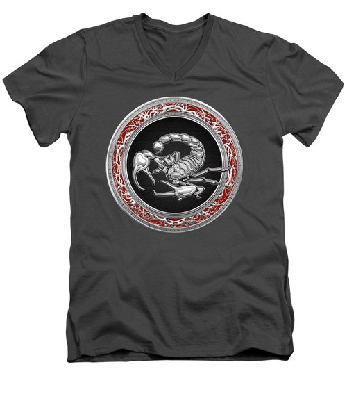 Treasure Trove - Sacred Silver Scorpion On Red Men's V-Neck T-Shirt by Serge Averbukh