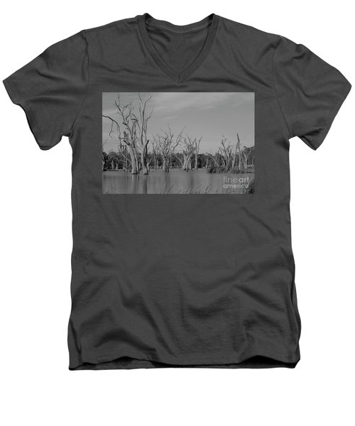 Men's V-Neck T-Shirt featuring the photograph Tree Cemetery by Douglas Barnard