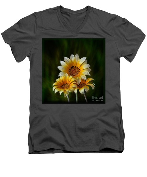 Men's V-Neck T-Shirt featuring the photograph Triple Sunshine by Shirley Mangini