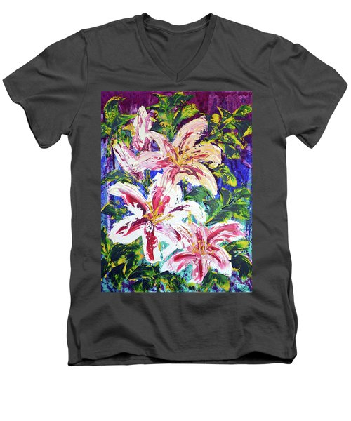 Tropical Flowers Men's V-Neck T-Shirt by Lynda Cookson