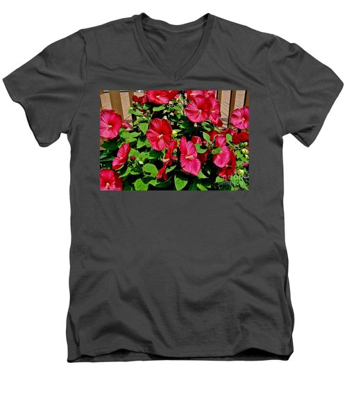 Tropical Red Hibiscus Bush Men's V-Neck T-Shirt