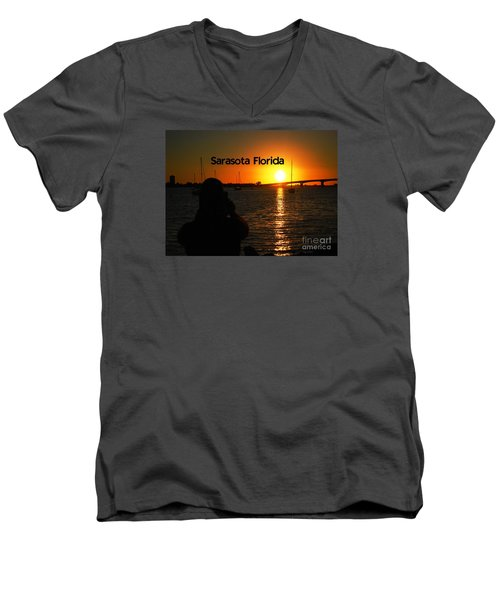 Men's V-Neck T-Shirt featuring the photograph Tropical Sunset by Gary Wonning
