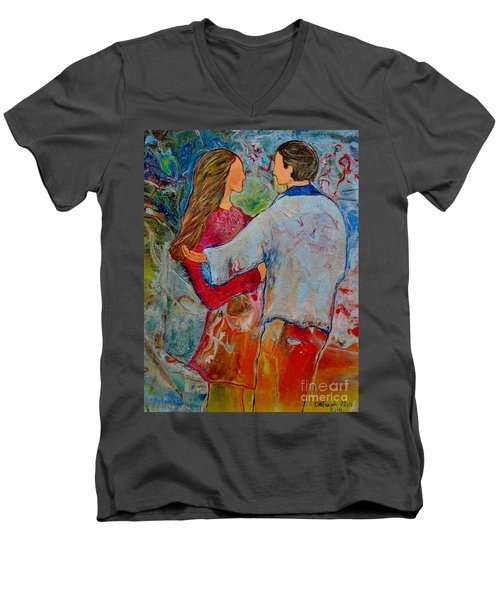 Men's V-Neck T-Shirt featuring the painting Trusting You by Deborah Nell